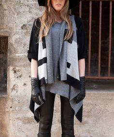 Another great find on #zulily! Black & Gray Geometric Hidden Message Cardigan #zulilyfinds