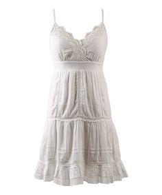 White Scallop Lace Surplice Dress