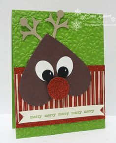 Rudolph the Red Nose Reindeer is a cute & fun card that Connie created with a Heart framelit, Snow Flurry die, & punches.
