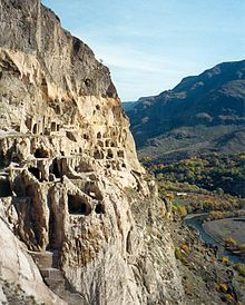 View of the cave city of Vardzia and the valley of the Kura River below