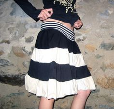 Eco Friendly Black White Jersey Patchwork Skirt Medium Large Reversible Vicmes Clothing