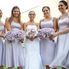 Satin Wide Strap Tea Length Dress Davids Bridal