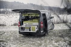 Czech firm Studio 519 has designed a plywood module called Nestbox, which fits neatly into the boot of a car and can be expanded into a double bed and fully fitted kitchen for camping. Camper Life, Campers, Camper Van, Van Tent, Tent Room, Van Camping, Mode Of Transport, Double Beds, Van Life