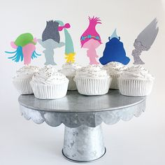 Trolls party, trolls theme, trolls the movie, birthday party theme, girls birthday, boys birthday, rainbow party, magical party, cupcakes, birthday cupcakes, etsy sellers, dessert table ideas, cake table, event planners, princess poppy, branch
