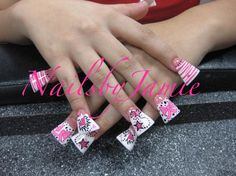 2009 Pink & White Style Duckfeet with hand painted nail art Bows, Tiger/Zebra, Poka dots. Hearts & stars.