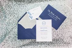 Stationary by @shannonjoypaper | photo by @dyannajoyphoto | Designed by @laceandgraceevents | Penn State Styled Shoot | blue, sequins, silver, white and pink wedding inspiration