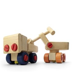 two mountable vehicles of the ‹elementar› toy-series by vero olbernhau, which was specialised in wooden toys. this ‹gutes design› award winning toy set was designed by helmut flade in 1978. [beech wood, plastic]