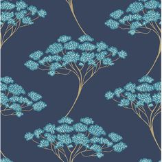 Add a touch of worldly essence to your home with the Banyan Tree Wallpaper from Kenneth James. With its gold pearlescent trunks, teal leaves, and light blue buds, this wallpaper adds a luxurious floral aesthetic to any room in the house. Navy Wallpaper, Wallpaper Samples, Blue Wallpapers, Wallpaper Roll, Peel And Stick Wallpaper, Nature Wallpaper, Luxury Wallpaper, Bedroom Wallpaper, Beautiful Wallpaper