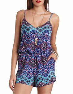 Strappy Back Printed Romper: Charlotte Russe