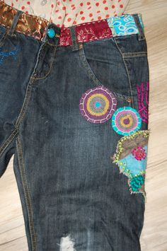 Desigual Jeans Shabby Chick mit Stickereien Gr. 38   eBay