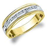 Eternity Wedding Bands LLC Two Tone Gold Diamond Men's Polished Milgrain Band cttw, F-G Color, Clarity) Size 9 Total Carat Round Buying An Engagement Ring, Engagement Rings For Men, Perfect Engagement Ring, Diamond Bands, Gold Bands, Diamond Wedding Bands, Wedding Bands For Him, Wedding Rings, 5 Carat Ring