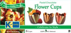 Chocolate Cups by Kane Candy. Flower shaped chocolate cups. Great for parties! Fill & Serve.   www.KaneCandy.com
