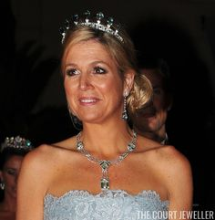 Queen (then Princess) Maxima of the Netherlands wears the Dutch Aquamarine Tiara at the wedding of Prince Albert II of Monaco, 2 July 2011 Royal Tiaras, Tiaras And Crowns, Queen Wilhelmina, Dutch Queen, Aquamarine Jewelry, Royal Jewelry, Prince Albert, Queen Maxima, Aqua Marine