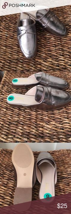 Catherine Malandrino Pewter colored slip on mules Catherine Malandrino pewter colored slip on mules super comfy perfect for fall. Catherine Malandrino Shoes Mules & Clogs