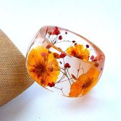 Size XL Botanical Resin Bangle.  Yellow and Red Pressed Flower  Bracelet.  Plus Size Bangle with Real Flowers.  Cosmos and Baby's Breath. $46.00, via Etsy.
