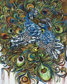 Dance of the Peacocks Painting  - Dance of the Peacocks Fine Art Print