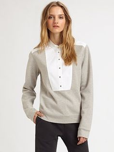 There's just something i love about this. T by Alexander Wang Oxford-Placket Sweatshirt
