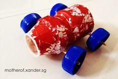 DIY toy car http://motherof.xander.sg/lets-make-diy-yakult-cars/