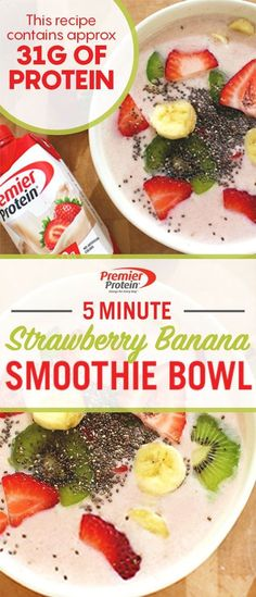 Shake things up for breakfast with this Strawberry Banana Smoothie Bowl! Add 1 Premier Protein Strawberries & Cream 30g shake, 1 cup of frozen strawberries, and 1 frozen banana to your blender. Blend until smooth, and add to bowls. Add toppings of your choice, and enjoy