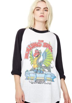 Vintage Rolling Stones Dragon Raglan features a dragon graphic on the front  and red N  fad2d7695c7c