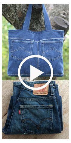 Denim Bags From Jeans, Diy Old Jeans, Denim Tote Bags, Denim Purse, Diy Bags Jeans, Old Jeans Recycle, Diy Tote Bag, Blue Jean Purses, Denim Jean Purses