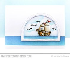 Party Like a Pirate stamp set and Die-namics, Stitched Dome Frames Die-namics, Cloud Stencil - Francine Vuilleme #mftstamps
