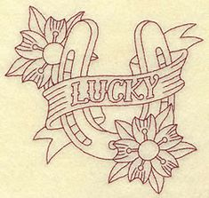 Lucky Horseshoe Redwork embroidery design