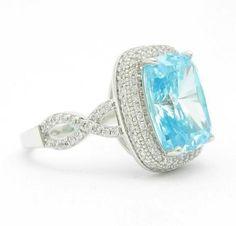 Aquamarine & White Sappire Platinum over 925 Solid Sterling Silver Ring Sizes 7-9 - Gem Artistry, LLC