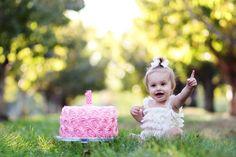 I'm one!  Birthday shoot with fake cake.