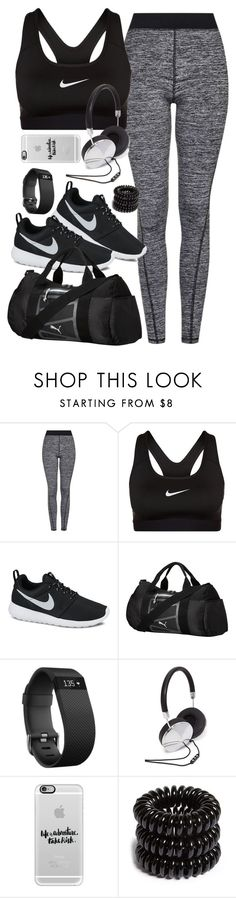 """""""Outfit for the gym"""" by ferned ❤ liked on Polyvore featuring Topshop, NIKE, Puma, Fitbit, Forever 21, Casetify and Invisibobble"""