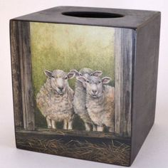 3 Sheep Tissue Box Cover | Wooden tissue box cover, folk art sheep – Dogwood Box