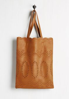 Toting and Wishing Bag - Brown, Solid, Eyelet, Casual, Boho, Vintage Inspired, Better, Neutral, Faux Leather
