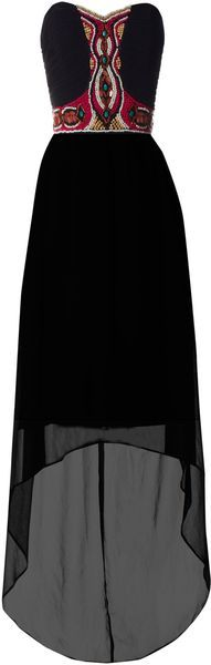 I am SO head over heels for this bottom line of this dress! Jane Norman Tribal Bead Maxi in (black)   Lyst