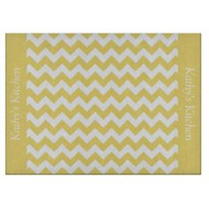 Daffodil Yellow Chevron Glass Cutting Board .............This design features a Daffodil Yellow Chevron pattern. The TEXT on both sides (left and right) can be customized with your own name. Check out my store for more colors.