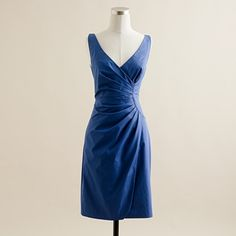 Another possible bridesmaid. J. Crew Ramona dress in cotton taffeta, Casablanca blue. (Machine washable!)