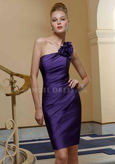 Sheath/ Column One Shoulder Sleeveless Taffeta Short Bridesmaid Dresses