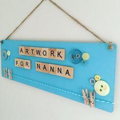 Children artwork sign 'washing line' for grandparents/nanny/nanna/grandad. Grandparents day