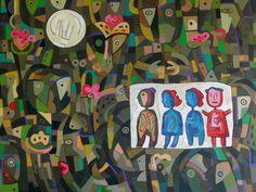 """Faizal (1965) """"Happy day"""" Acrylic on canvas 150 x 200 cm"""