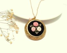 Forget me not floral locket hand embroidered jewelry by ConeBomBom