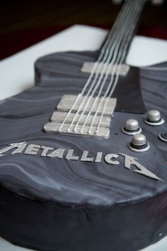 guitar cake, metallica, bass, black, music