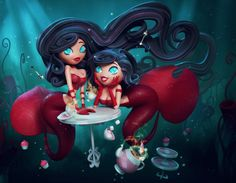 3D Art: Elizalde Mermaid Tea Party by  Carlos Ortega