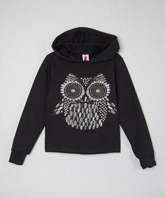 Love this Black & Metallic Owl Crop Hoodie - Girls on #zulily! #zulilyfinds