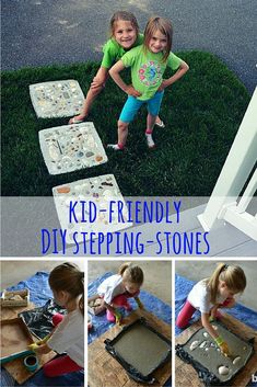 DIY Stepping Stones – DIY Kids Here's an easy DIY project that's easy enough for kids to do (with a little supervision). Make concrete stepping stones using a pizza box and seashells. Stepping Stones Kids, Concrete Stepping Stones, Homemade Stepping Stones, Kids Bob, Concrete Crafts, Garden Steps, Do It Yourself Crafts, Diy Crafts For Kids, Garden Kids