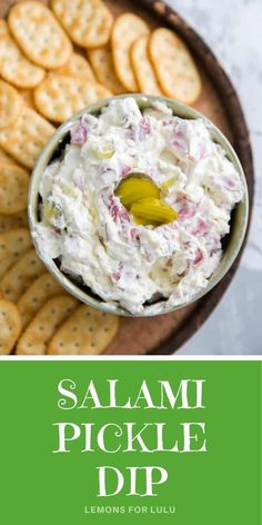This salami dill pickle dip is reminiscent of pickle rolls! This tasty, scoopable version has delicious, easy and so addicting! Pickle fans, grab your crackers, and dig in! Easy Snacks, Yummy Snacks, Best Appetizers, Appetizer Recipes, Dill Pickle Dip, Vegetable Dips, Bacon Wrapped Dates, Best Party Food, Perfect Food