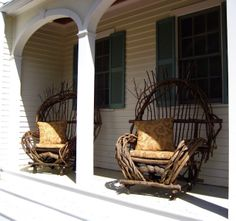 Bent - Wood Chairs!!!!!  Sweet Rustic Comfort!  For more cabin/ porch decor see: www.davesrusticwillow.com