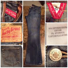 """Lucky Brand Jeans Lucky Brand Jeans are made of 99% Cotton and 1% Spandex. Size 2/26. Medium wash. Length """"38.5. Rise """"8 inseam """"29.5. Laying flat """"13.5. This Item is Authentic and from a Smoke And Pet free home. All Offers through the offer button ONLY. I Will not negotiate Price in the comment section. Thank You Lucky Brand Jeans"""