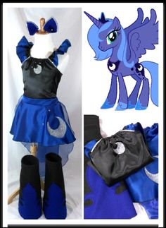 Princess Luna Costume Top, Skirt, Cape, Boots, Ears Kids/Adult sz by LittleLadyDiva on Etsy https://www.etsy.com/listing/238842987/princess-luna-costume-top-skirt-cape
