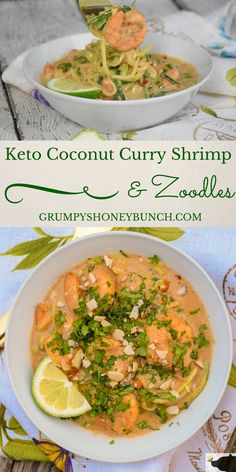 "Keto Coconut Curry Shrimp and Zoodles has a homemade curry sauce that is smooth and creamy with just enough of that spicy, nutty ""sweet heat"", to make it absolutely irresistible! #StartAHealthyRelationship #ad #keto"