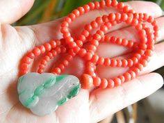 Antique Genuine Coral Necklace with Chinese Old Jadeit Pendant | eBay