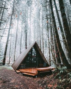 Sky Haus - A-Frame Cabin - Chalets for Rent in Skykomish, Washington, United States A Frame Cabin, A Frame House, Tiny House Cabin, Cabin Homes, Tiny Houses, Ideas Cabaña, Forest House, Forest Cabin, Cabins And Cottages